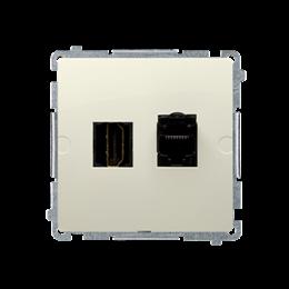 Gniazdo HDMI + komputerowe RJ45 kat.6. beżowy-254052