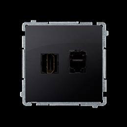 Gniazdo HDMI + komputerowe RJ45 kat.6. grafit mat, metalizowany-254054