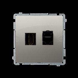 Gniazdo HDMI + komputerowe RJ45 kat.6. satynowy, metalizowany-254055
