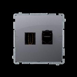 Gniazdo HDMI + komputerowe RJ45 kat.6. inox, metalizowany-254053
