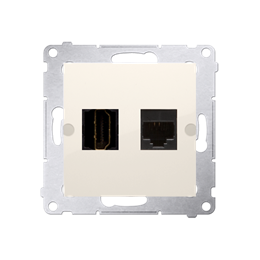 Gniazdo HDMI + komputerowe RJ45 kat.6. kremowy-253032