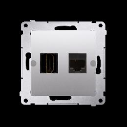 Gniazdo HDMI + komputerowe RJ45 kat.6. srebrny mat, metalizowany-253033