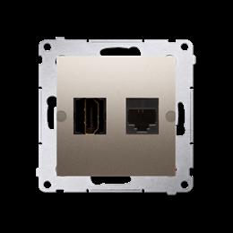 Gniazdo HDMI + komputerowe RJ45 kat.6. złoty mat, metalizowany-253034