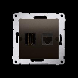 Gniazdo HDMI + komputerowe RJ45 kat.6. brąz mat, metalizowany-253035