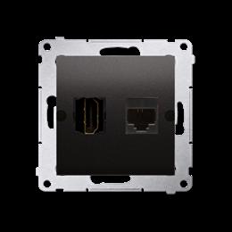 Gniazdo HDMI + komputerowe RJ45 kat.6. antracyt, metalizowany-253036