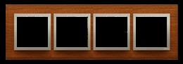 Ramka 4- krotna drewniana złoty orzech-251541