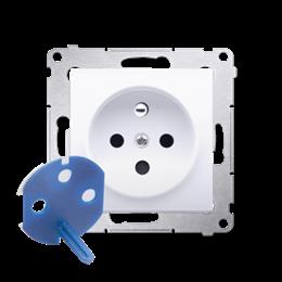 Gniazdo wtyczkowe pojedyncze DATA z kluczem uprawniającym do ramek Nature do ramek Premium (moduł) 16A 250V, zaciski śrubowe, an