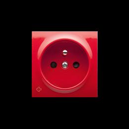 Pokrywa do gniazda wtyczkowego pojedynczego z uziemieniem antybakteryjny czerwony-252437