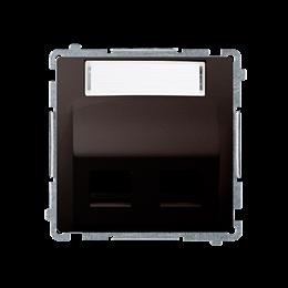 Pokrywa gniazd teleinformatycznych na PANDUIT, skośna podwójna z polem opisowym czekoladowy mat, metalizowany-254205