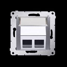 Pokrywa gniazd teleinformatycznych na Keystone skośna podwójna srebrny mat, metalizowany-253104
