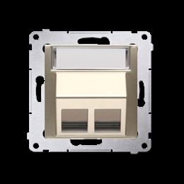Pokrywa gniazd teleinformatycznych na Keystone skośna podwójna złoty mat, metalizowany-253105