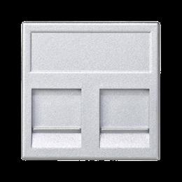 Plakietka teleinformatyczna K45 keystone podwójna płaska uniwersalna z osłonami 45×45mm aluminium-256341