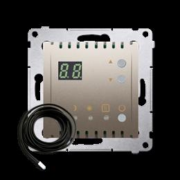 Regulator temperatury z wyświetlaczem z czujnikiem zewnętrzym (sonda) złoty mat, metalizowany-252754