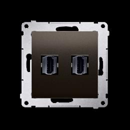 Gniazdo HDMI podwójne brąz mat, metalizowany-253037