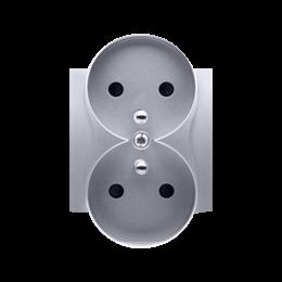 Pokrywa do gniazda wtyczkowego podwójnego z uziemieniem - do ramek NATURE srebrny mat, metalizowany-252372