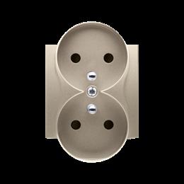 Pokrywa do gniazda wtyczkowego podwójnego z uziemieniem - do ramek NATURE złoty mat, metalizowany-252373