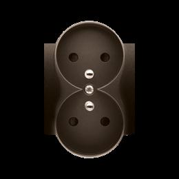Pokrywa do gniazda wtyczkowego podwójnego z uziemieniem - do ramek NATURE brąz mat, metalizowany-252374