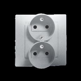 Gniazdo wtyczkowe podwójne z uziemieniem z funkcją niezmienności faz aluminiowy, metalizowany 16A-254676