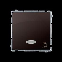 """Przycisk """"światło"""" z podświetleniem LED nie wymienialny kolor: niebieski (moduł) 10AX 24V, szybkozłącza, czekoladowy mat, metali"""