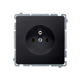 Gniazdo wtyczkowe pojedyncze z uziemieniem z przesłonami torów prądowych grafit mat, metalizowany 16A-253822