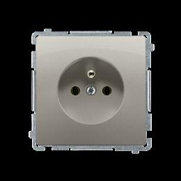 Gniazdo wtyczkowe pojedyncze z uziemieniem z przesłonami torów prądowych satynowy, metalizowany 16A-253823