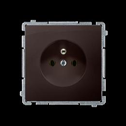 Gniazdo wtyczkowe pojedyncze z uziemieniem z przesłonami torów prądowych czekoladowy mat, metalizowany 16A-253825