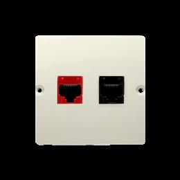 Gniazdo komputerowe RJ45 kategoria 5e + telefoniczne RJ12 (moduł) beżowy-254163
