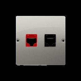Gniazdo komputerowe RJ45 kategoria 5e + telefoniczne RJ12 (moduł) satynowy, metalizowany-254166