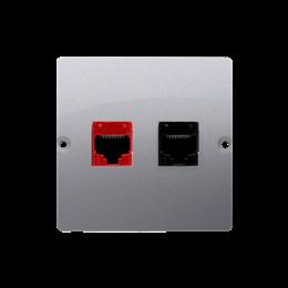 Gniazdo komputerowe RJ45 kategoria 5e + telefoniczne RJ12 (moduł) srebrny mat, metalizowany-254167