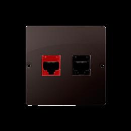 Gniazdo komputerowe RJ45 kategoria 5e + telefoniczne RJ12 (moduł) czekoladowy mat, metalizowany-254168