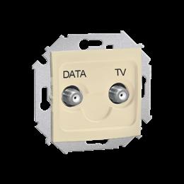 Gniazdo antenowe TV-DATA tłum.:5dB beżowy-254716
