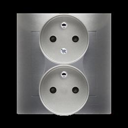 Gniazdo wtyczkowe podwójne z uziemieniem z funkcją niezmienności faz (kompletny produkt) 16A 250V, zaciski śrubowe, srebrny mat,