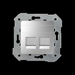 Pokrywa gniazd teleinformatycznych na Keystone płaska podwójna aluminium-251319