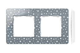 Ramka 2- krotna biały szary zimny-250772