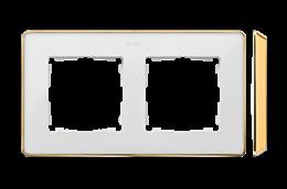 Ramka 2- krotna biały złoty-250826