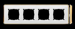 Ramka 4- krotna biały złoty-250875
