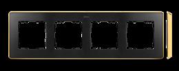 Ramka 4- krotna grafit złoty-250879