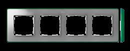 Ramka 4- krotna aluminium zimne zielony-250888