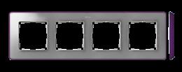 Ramka 4- krotna aluminium zimne fioletowy-250889