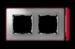 Ramka 2- krotna aluminium zimne czerwony-250870