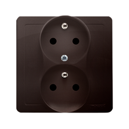 Gniazdo wtyczkowe podwójne z uziemieniem z funkcją niezmienności faz z przesłonami torów prądowych czekoladowy mat, metalizowany