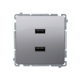 Ładowarka USB podwójna inox, metalizowany 2,1A-254235