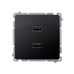 Ładowarka USB podwójna grafit mat, metalizowany 2,1A-254236
