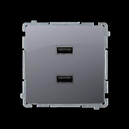 Ładowarka USB podwójna srebrny mat, metalizowany 2,1A-254238