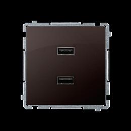 Ładowarka USB podwójna czekoladowy mat, metalizowany 2,1A-254239