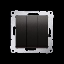 Przycisk potrójny z podświetleniem (moduł) 10AX 250V, szybkozłącza, antracyt, metalizowany-252265