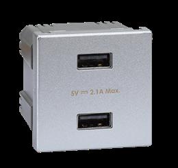 Ładowarka USB K45 USB 2.0 - A 5V DC 2,1A 45×45mm aluminium-256518