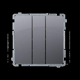 Łacznik potrójny z podświetleniem LED nie wymienialny kolor: niebieski (moduł) 10AX 250V, szybkozłącza, srebrny mat, metalizowan