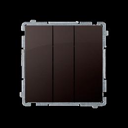 Łacznik potrójny z podświetleniem LED nie wymienialny kolor: niebieski (moduł) 10AX 250V, szybkozłącza, czekoladowy mat, metaliz