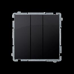 Łacznik potrójny z podświetleniem LED nie wymienialny kolor: niebieski (moduł) 10AX 250V, szybkozłącza, grafit mat, metalizowany